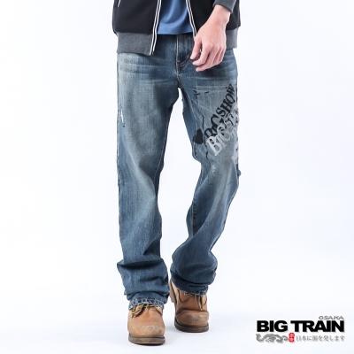 BIG TRAIN 低腰街頭印字垮褲-中深藍