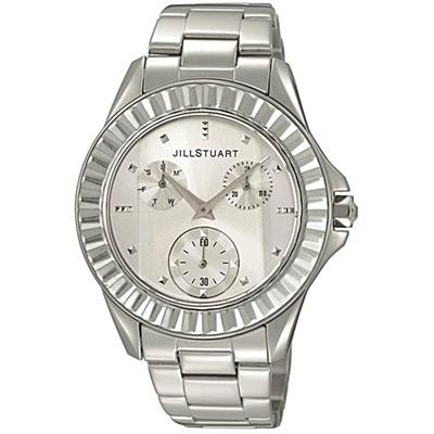 JILL STUART Prism系列簡約晶鑽三眼全日曆腕錶-銀/31mm