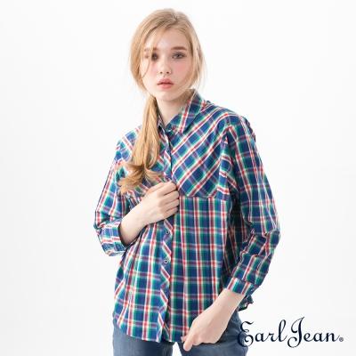 Earl Jean 隨性寬版襯衫-藍-女