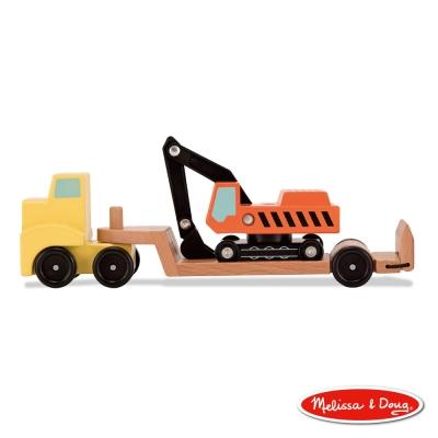 美國瑪莉莎 Melissa & Doug - 木製交通工具 - 挖土機拖車