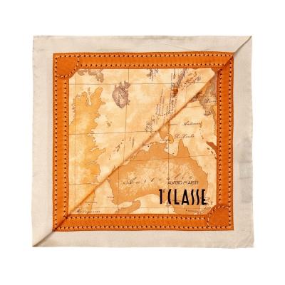 Alviero Martini 義大利地圖 經典地圖邊框配色方巾-杏(50X50)