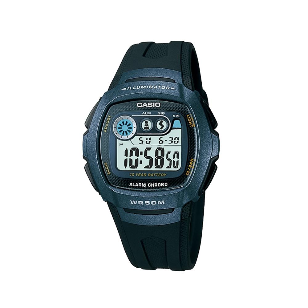 CASIO 穿梭時空兩地時間電子錶(W-210-1B)-藍框