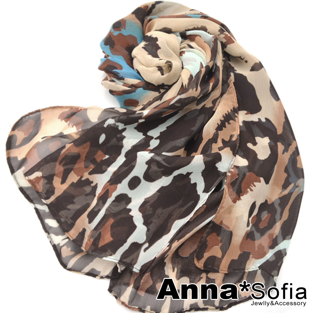 AnnaSofia 彩染獸紋 雪紡長絲巾(藍咖系)
