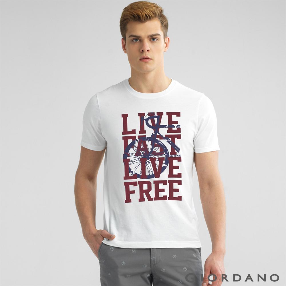 GIORDANO 男裝美式英文口號休閒短袖TEE- 79 標誌白色
