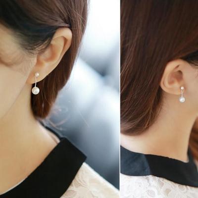 梨花HaNA-韓國925銀宋慧喬優雅氣質珍珠細緻耳環