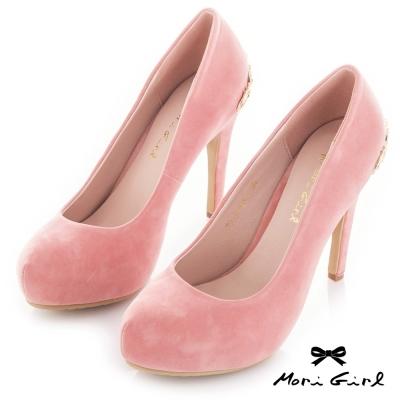 Mori girl 後金飾皇冠高跟鞋 粉