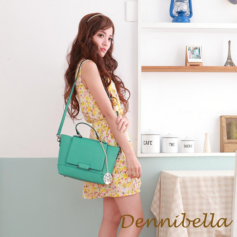 Dennibella 丹妮貝拉 -玩色美學-真皮斜背包-湖水綠