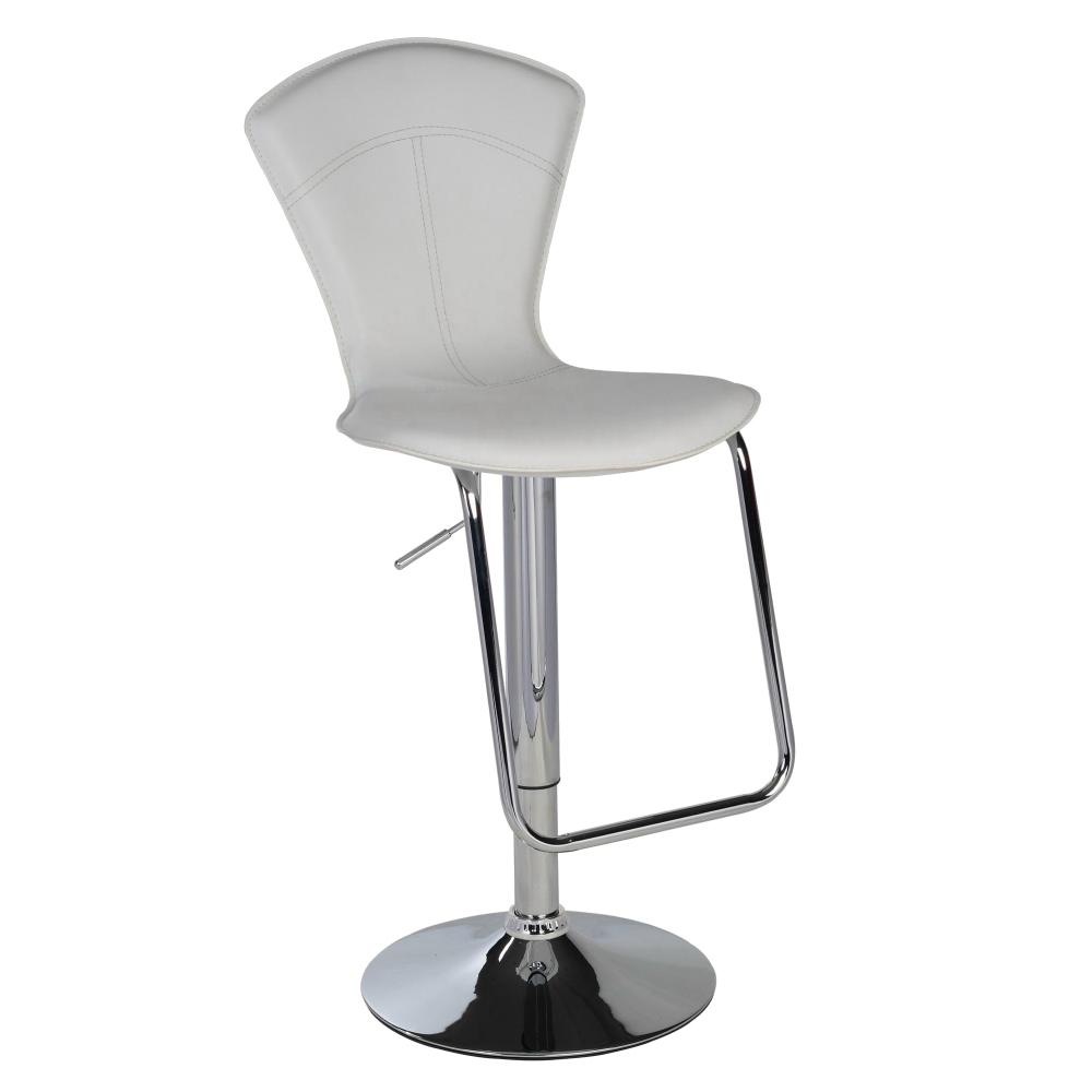 E-Style 高級皮革氣壓棒伸縮高背高腳吧台椅-白