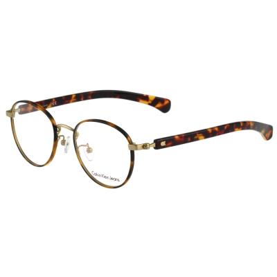 Calvin-Klein-復古圓框光學眼鏡-琥珀色