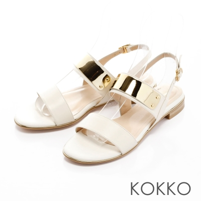KOKKO-金屬狂潮真皮平底後帶涼鞋-清爽白