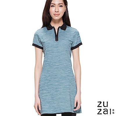 zuzai 自在親膚舒涼短袖POLO洋裝-女-綠色