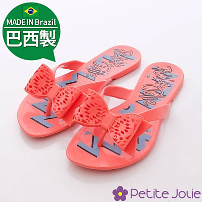 Petite Jolie巴西製-俏麗蝴蝶縷空夾腳拖-456紅