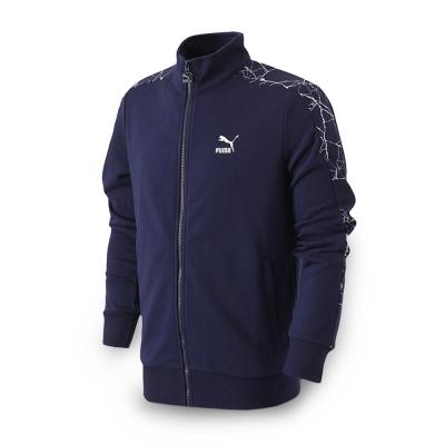 PUMA-男性流行系列爆裂紋T7立領外套-重深藍-亞規