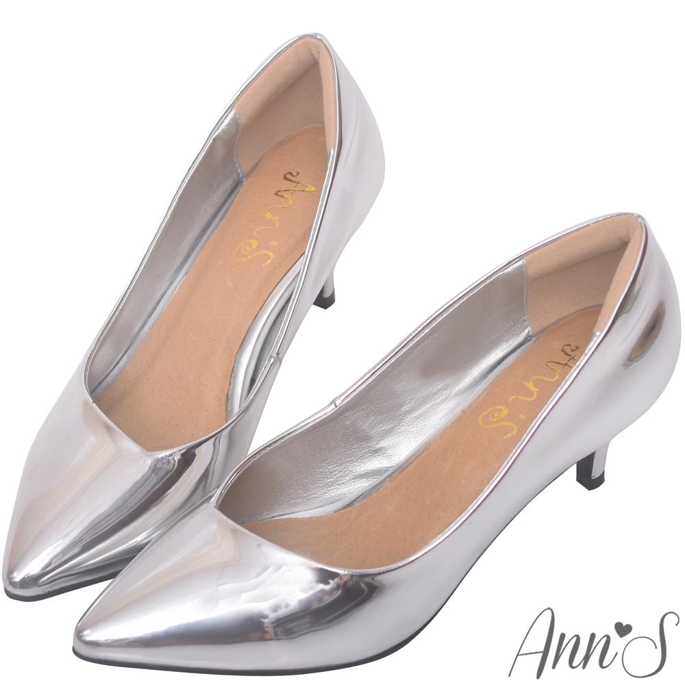 Ann'S漫步華爾滋-素色品味斜口低跟舒適尖頭鞋-銀