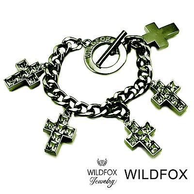 Wildfox Couture 美國品牌 萊茵綠水晶十字架手鍊 亮灰手鍊