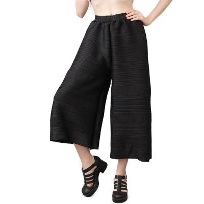 黑色寬鬆直筒壓摺長褲-玩美衣櫃
