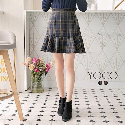 東京著衣-yoco 知性女孩格紋拼接魚尾褲裙-S.M.L(共二色)
