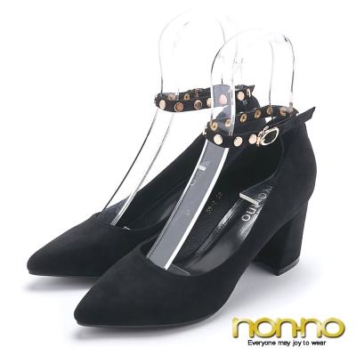 nonno 時尚名媛 氣質優雅 尖頭跟鞋-黑