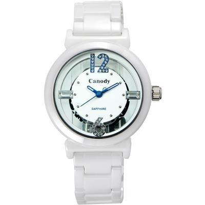 Canody 浮雕時尚 雙鏤空晶鑽陶瓷腕錶-白x藍指針/35mm