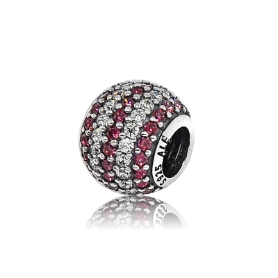 Pandora 潘朵拉 圓形紅白亮鑽 純銀墜飾 串珠