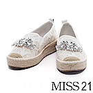 休閒鞋 MISS 21 華麗蕾絲寶石鑽飾厚底草編休閒鞋-白