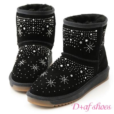 D+AF 冰雪奇緣.雪花燙鑽真皮短筒雪靴*黑