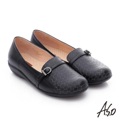 A.S.O 舒適樂活 全真皮六邊形車線奈米休閒鞋 黑