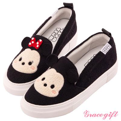 Disney collection by Grace gift立體拼接懶人休閒鞋 黑