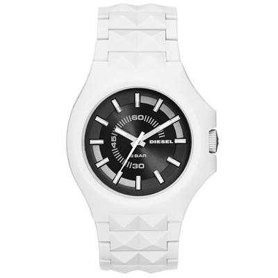 DIESEL 龐克主義造型腕錶-黑x白/42mm