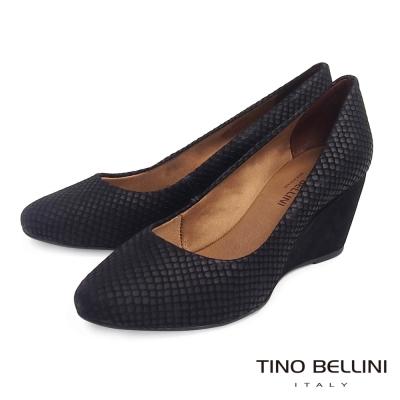 Tino Bellini 巴西真皮立體蛇紋壓紋楔型鞋_黑