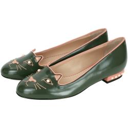 Charlotte Olympia Kitty Studs貓咪平底娃娃鞋(綠色)