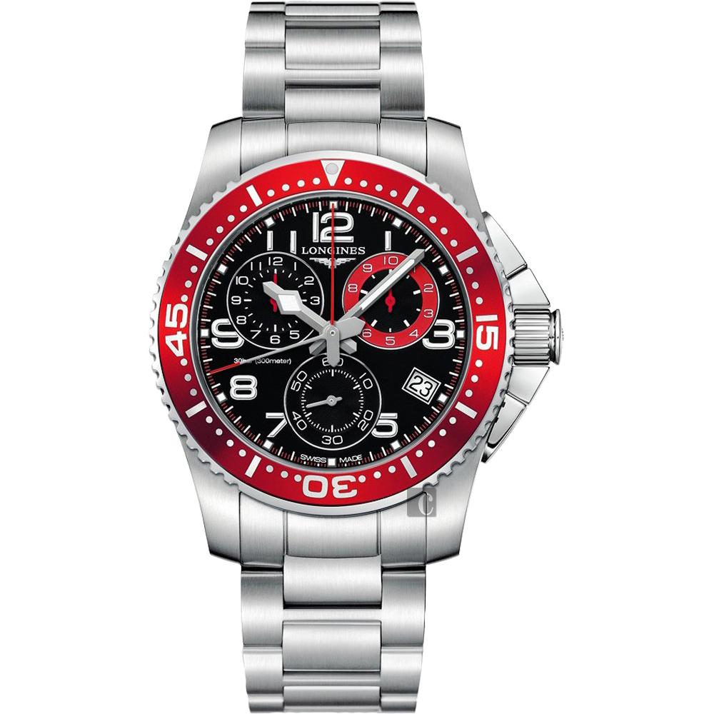 LONGINES Hydro Conquest 300米潛水計時腕錶-黑x紅框/41mm