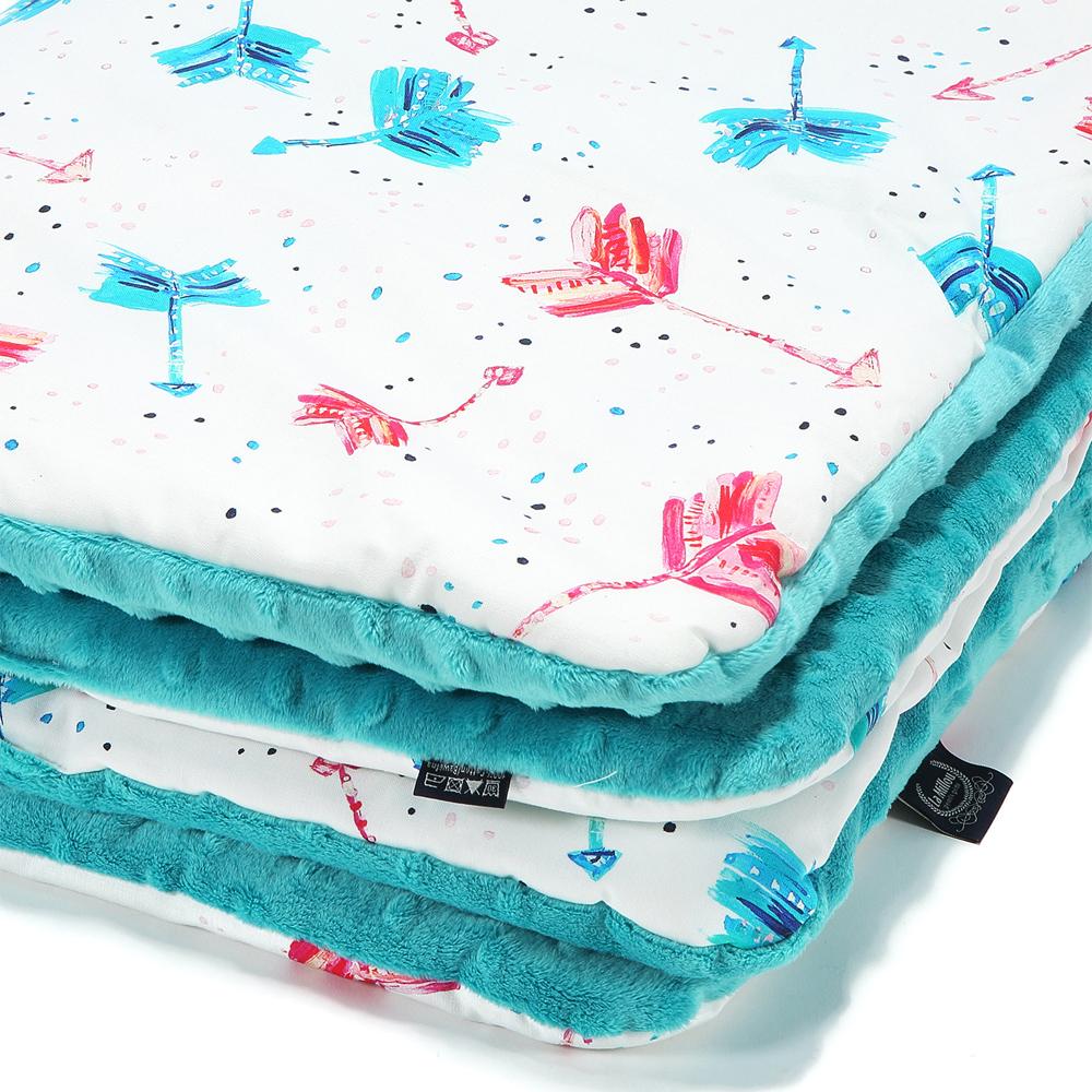 嬰兒毯寶寶毯-La Millou 暖膚豆豆毯-丘比特之箭(炫彩)-藍綠調色盤