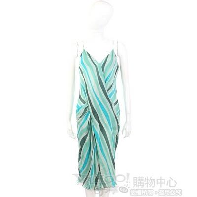 GENNY 綠色條紋紗質細肩帶洋裝