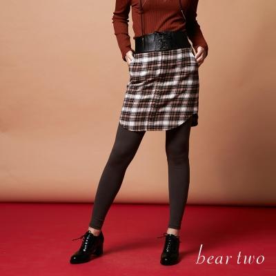 beartwo 假兩件式格紋內搭褲裙(二色)-動態show