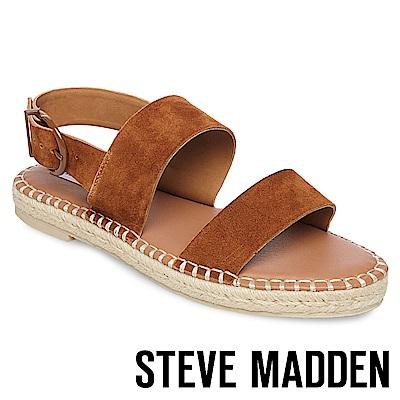 STEVE MADDEN-ETHAN-寬版草編平底涼鞋-絨棕