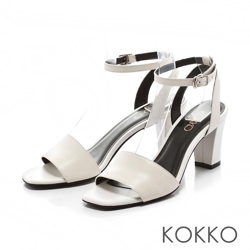 KOKKO-微性感方頭繞帶粗跟真皮涼鞋-純淨白
