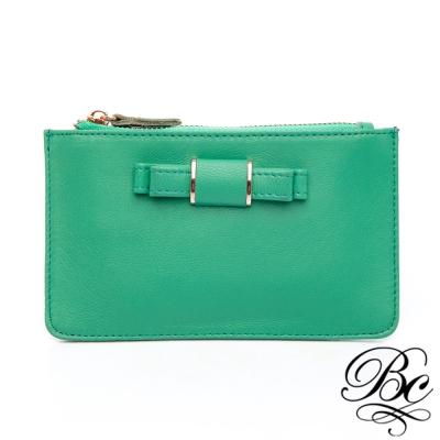 BELLUCY-蝴蝶結質感羊皮鑰匙零錢包-藍綠色