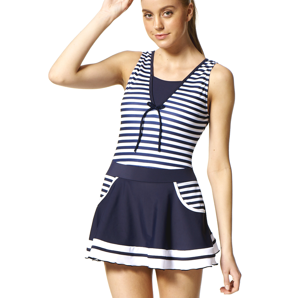 沙兒斯 樸實居家橫紋連身裙式泳裝