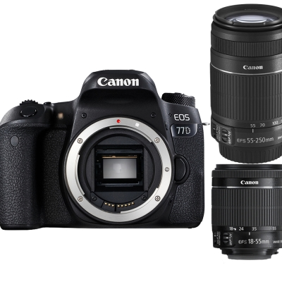 【快】Canon EOS 77D+18-55mm+55-250mm IS II(平輸中文)