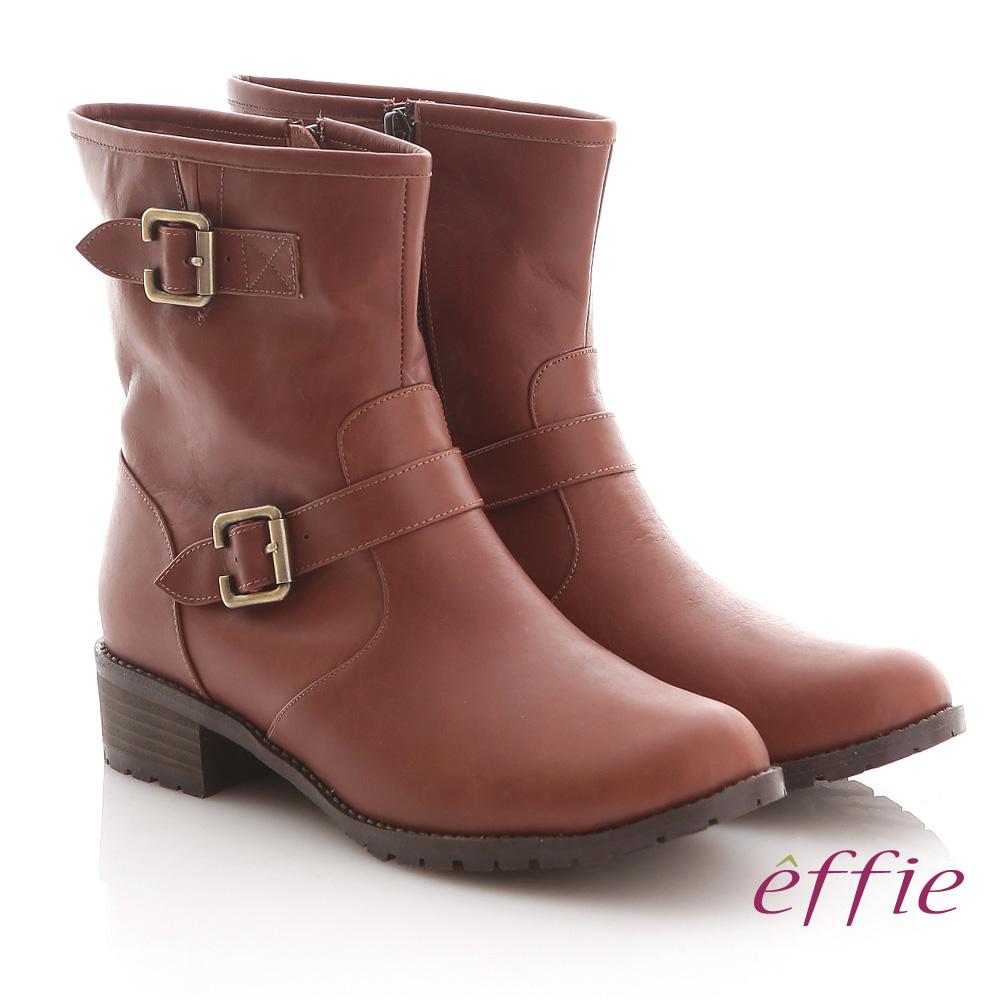 effie 率性都會 全真皮雙扣帶平底工程短靴 紅咖