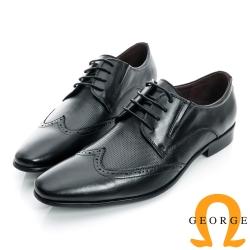 GEORGE-側V切口拼接細格紋真皮牛津紳士鞋-黑色