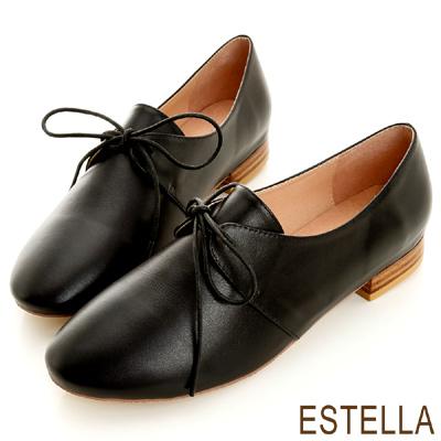 ESTELLA-英倫雅痞-全真皮綁帶時尚紳士鞋-黑