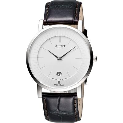 ORIENT 紳士都會薄型錶殼腕錶-銀x咖啡/38mm
