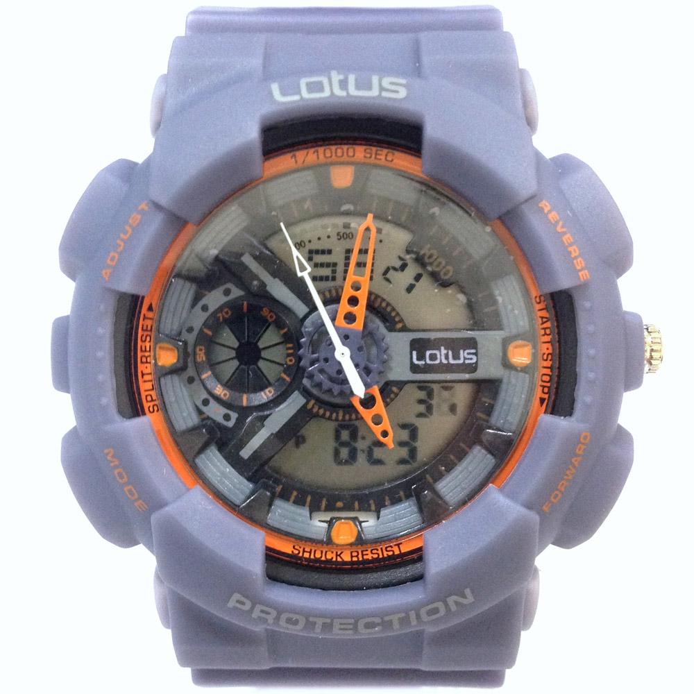 Lotus 街頭潮男 計時鬧鈴雙顯運動錶(LS-1026-11)-大地灰/52mm @ Y!購物