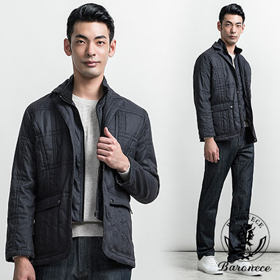 BARONECE 時尚耀眼保暖兩件穿搭鋪棉外套_黑灰(311752-15)