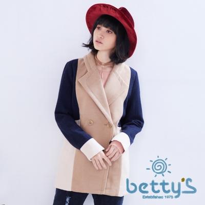 betty's貝蒂思 毛呢拼接大衣(卡其色)