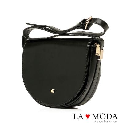 La Moda 完美線條半月造型肩背斜背馬鞍包(黑)