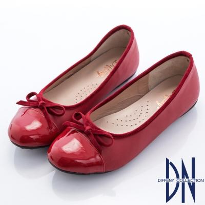 DN 甜美漫步 優雅蝴蝶結拼接平底豆豆鞋-紅
