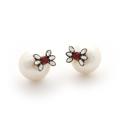 JewCas Cotton Backcatch系列紅水晶珍珠耳環_JC1689